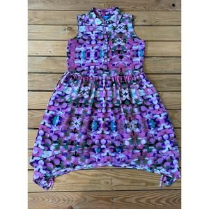L'AMOUR Patterned Sleeveless Button Front Dress S